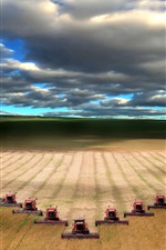 Preview iPhone wallpaper Mechanical harvesting wheat field landscape