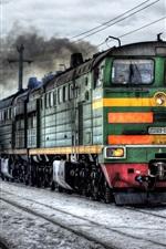 Preview iPhone wallpaper Railroad locomotive winter