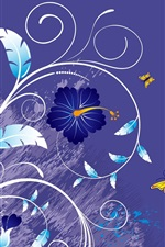 Preview iPhone wallpaper Vector background of flowers and butterflies
