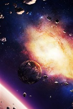Preview iPhone wallpaper Asteroids planet nebula and spaceship