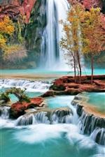Preview iPhone wallpaper Beautiful autumn waterfall