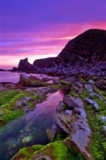 Preview iPhone wallpaper Beautiful purple sunset coast