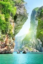 Preview iPhone wallpaper Canyon mountain and water scenery