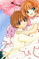 Preview iPhone wallpaper Cherry tree young lovers animation
