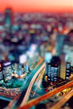 Preview iPhone wallpaper City night tilt shift photography