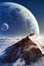 Preview iPhone wallpaper Dream clouds on the mountain and the planet