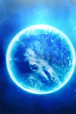 Preview iPhone wallpaper Glows blue planet