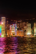 Preview iPhone wallpaper Hong Kong city lights at night