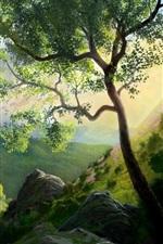 Vorschau des iPhone Hintergrundbilder Berg Baum Malerei