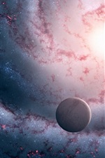Preview iPhone wallpaper Nebulae and planets in dream world
