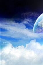 Preview iPhone wallpaper Planet of the ring cloud