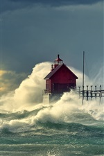 Preview iPhone wallpaper Sea waves pier lighthouse