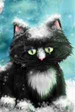 Preview iPhone wallpaper Snow cat painting
