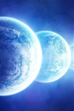 Preview iPhone wallpaper Three blue planet