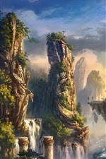 Preview iPhone wallpaper Art landscape mountain rock waterfall