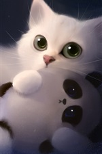 Preview iPhone wallpaper Art painting white cat and toy panda