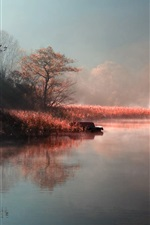Preview iPhone wallpaper Autumn morning mist of the natural river