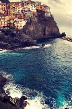 Preview iPhone wallpaper Beautiful landscape of Manarola Italy sea coast