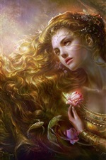 Preview iPhone wallpaper Blond fantasy girl flower and fish