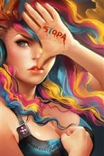 iPhone обои Красочные девушки фантазия волосы прослушивания музыки