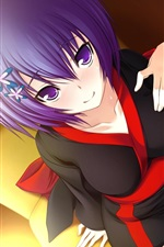 Preview iPhone wallpaper Cute anime girl purple hair