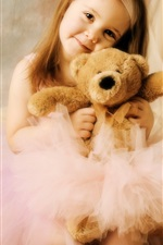 Preview iPhone wallpaper Cute girl with toy bear