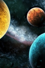 Preview iPhone wallpaper Different colors of the three planets
