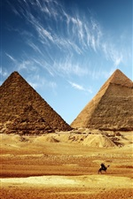 Preview iPhone wallpaper Egypt pyramid golden sand blue sky