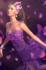 Preview iPhone wallpaper Fantasy girl purple petals