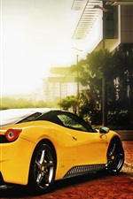 Preview iPhone wallpaper Ferrari cars of yellow color