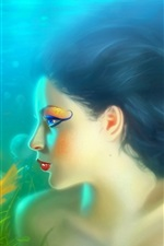 Preview iPhone wallpaper Girl mermaid with fish