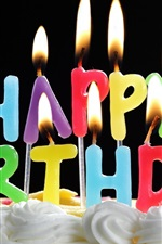 Preview iPhone wallpaper Happy Birthday cake and candles