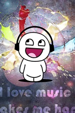Preview iPhone wallpaper I love music, It makes me happy
