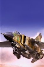 Preview iPhone wallpaper MiG fighter flying in the desert