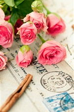 Preview iPhone wallpaper Pink roses and a letter