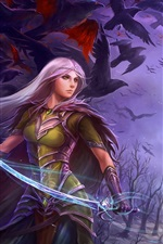 Preview iPhone wallpaper Purple hair fantasy girl holding sword