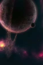 Preview iPhone wallpaper Purple nebula planetary asteroid