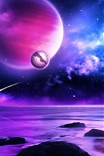 Preview iPhone wallpaper Purple planet meteors in space