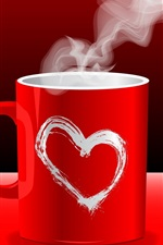 Preview iPhone wallpaper Red love couple coffee mugs