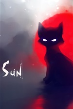Preview iPhone wallpaper Red sun black cat painting