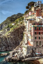 Preview iPhone wallpaper Riomaggiore Italy coast landscape of buildings