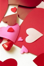 Preview iPhone wallpaper Valentine's Day love heart-shaped paper-cut