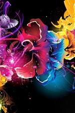 Padrões abstratos linhas de cores flores