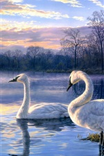 Preview iPhone wallpaper Art painting swan lake sunset landscape