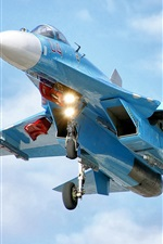 Preview iPhone wallpaper Blue fighter flight