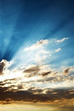 Preview iPhone wallpaper Clouds with sun rays