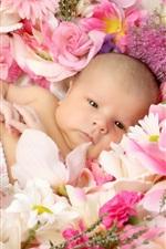 Cute bebê deitado sobre as flores