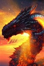 Preview iPhone wallpaper Dragon lava sky