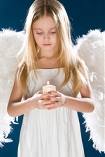 Preview iPhone wallpaper Girl angel wings candle sad children