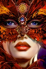 Preview iPhone wallpaper Girlfriend jewelry feather mask